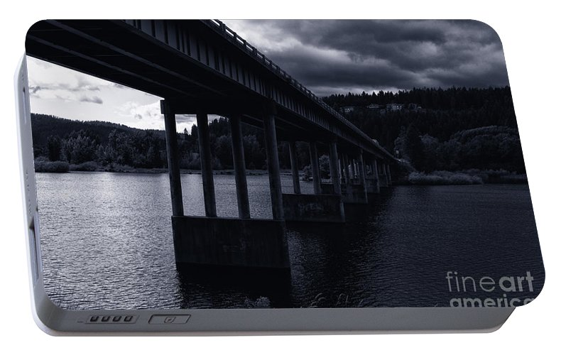 Spokane River Portable Battery Charger featuring the photograph Bridge Over Spokane River Cloudy Day by Matthew Nelson