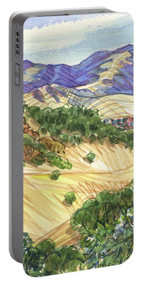 Landscape With California Oaks Portable Battery Charger featuring the painting Briones From Mount Diablo Foothills by Judith Kunzle