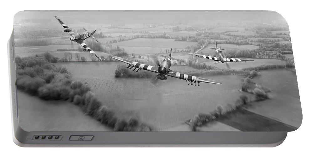 D-day Portable Battery Charger featuring the photograph Brothers In Arms Bw Version by Gary Eason