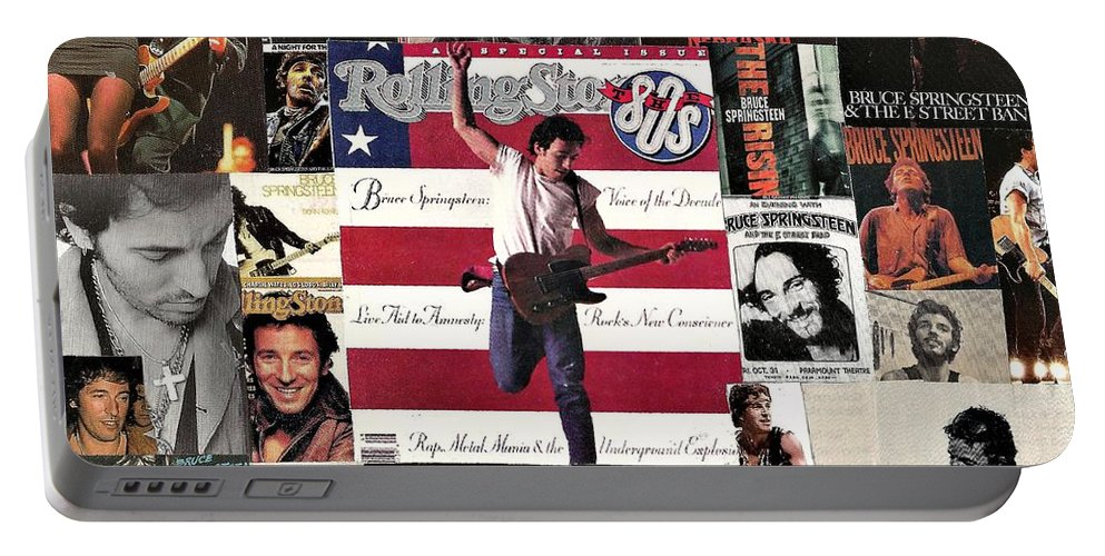 Collage Portable Battery Charger featuring the digital art Bruce Springsteen Collage 1 by Doug Siegel