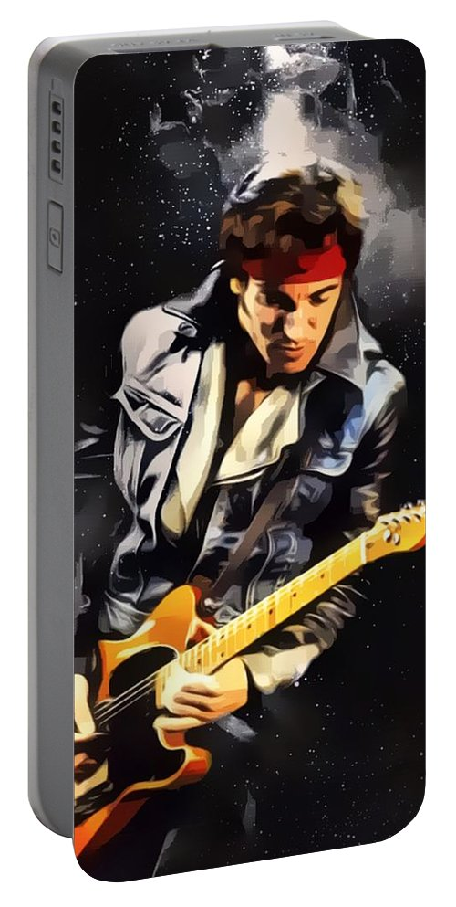 Bruce Springsteen Portable Battery Charger featuring the digital art Bruce Springsteen Portrait by Scott Wallace Digital Designs