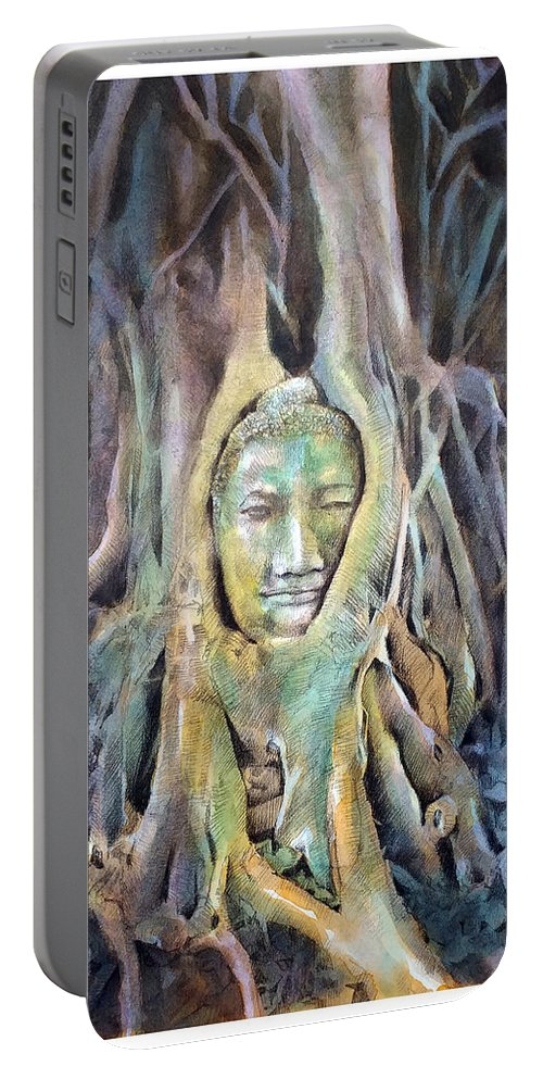 Buddha Portable Battery Charger featuring the painting Buddha Head In Tree Roots by Wachira Kacharat