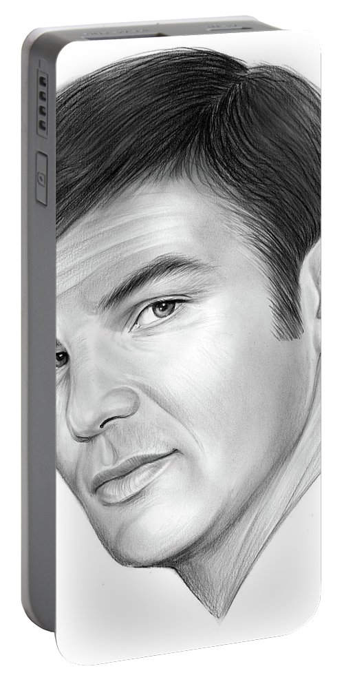 Burt Reynolds Portable Battery Charger featuring the drawing Burt by Greg Joens