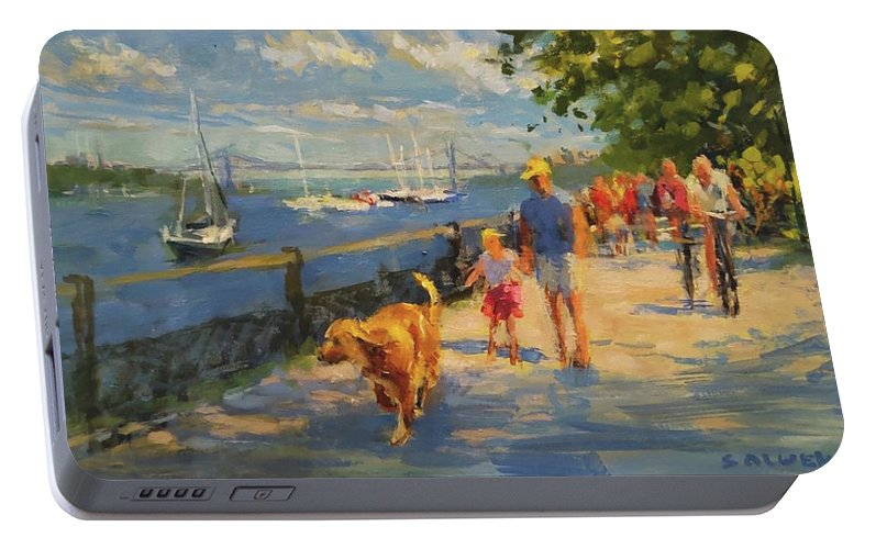 New York Portable Battery Charger featuring the painting By The River, Sunday Morning by Peter Salwen