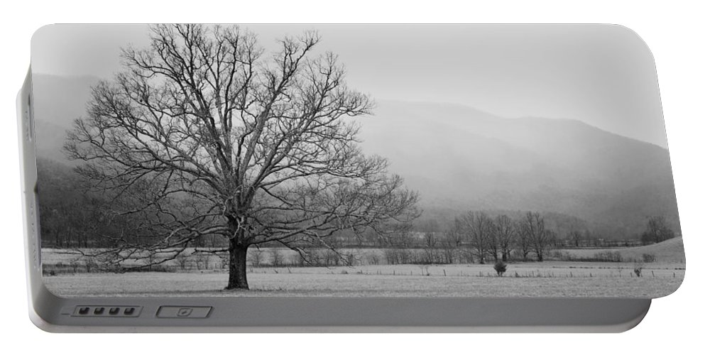 Pete Nunweiler; Nunweiler; Nunweiler Photography; Canon; Photography; Canon Xsi; Canon 450d; Snow On The Smoky Mountains; Cades Cove; The Great Smoky Mountains; The Smokies; Tennessee; Tn; Gatlinburg; Tree In Cades Cove; Landscape Photography Portable Battery Charger featuring the photograph Cades Cove by Nunweiler Photography