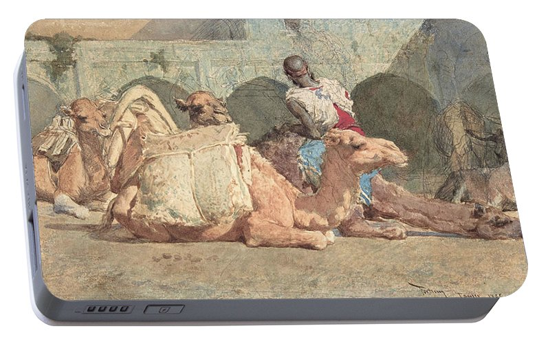 Morocco Portable Battery Charger featuring the painting Camels Reposing, Tangiers - Digital Remastered Edition by Mariano Fortuny