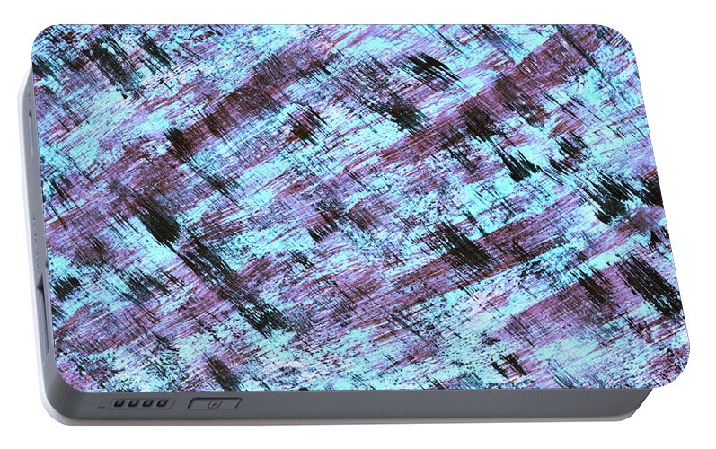 Abstract Portable Battery Charger featuring the painting Cautious 2 by Bella Reyna