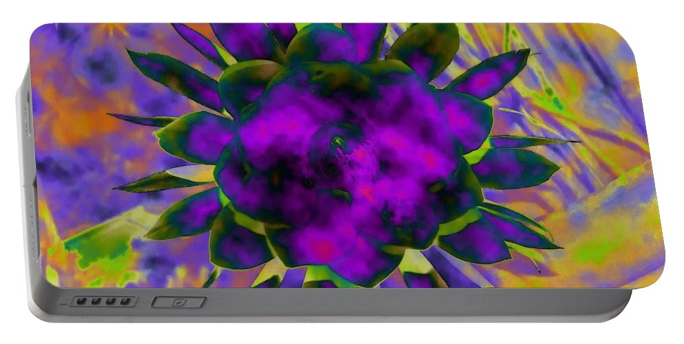 Floral Portable Battery Charger featuring the digital art Cereusly Solarized by Vallee Johnson