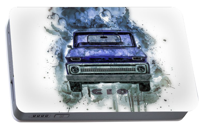 Chevrolet C10 Portable Battery Charger featuring the painting Chevy C10 Splash Art by Aaaah Eeeek Studio