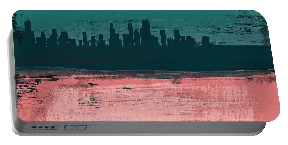 Chicago Portable Battery Charger featuring the mixed media Chicago Abstract Skyline II by Naxart Studio