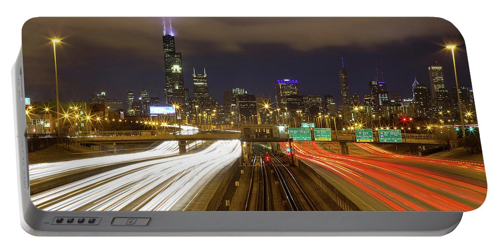 Chicago Skyline Portable Battery Charger featuring the photograph Chicago Skyline South Side View by Jackie Novak