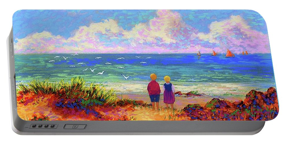 Ocean Portable Battery Charger featuring the painting Children Of The Sea by Jane Small