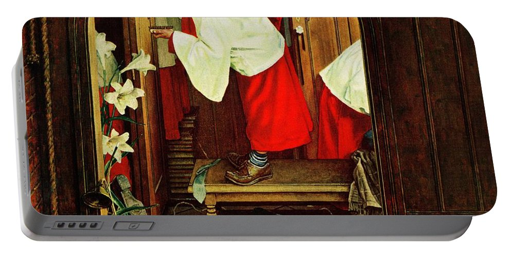 Choirboys Portable Battery Charger featuring the drawing choirboy by Norman Rockwell
