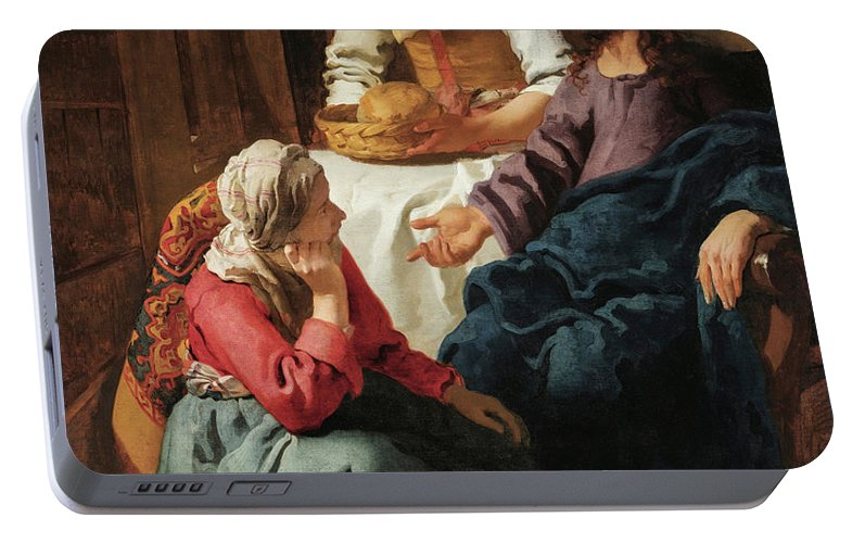 Johannes Vermeer Portable Battery Charger featuring the painting Christ In The House Of Martha And Mary, 1656 by Johannes Vermeer