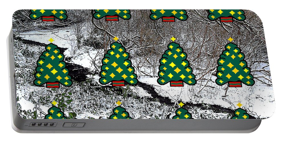 Christmas Portable Battery Charger featuring the mixed media Christmas Trees by Patrick J Murphy