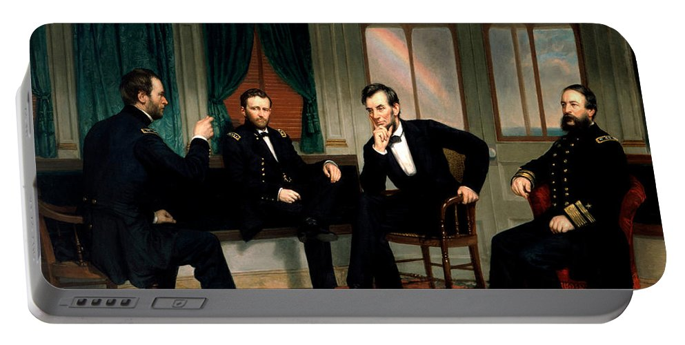 Civil War Portable Battery Charger featuring the painting Civil War Union Leaders - The Peacemakers - George P.a. Healy by War Is Hell Store
