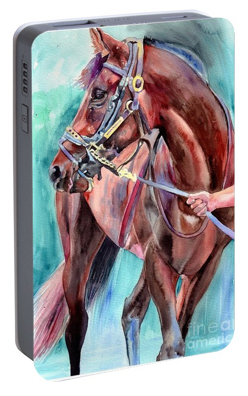 Watercolor Portable Battery Charger featuring the painting Classical Horse Portrait by Suzann Sines