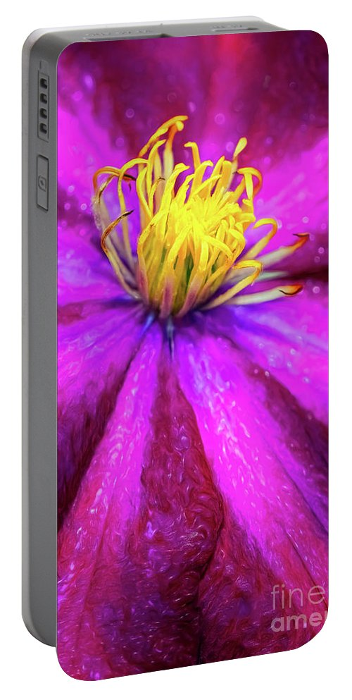Clematis Portable Battery Charger featuring the photograph Clematis Flower by Adrian Evans