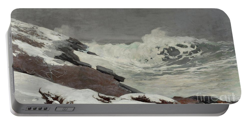 Winslow Homer Portable Battery Charger featuring the painting Coast In Winter, 1892 by Winslow Homer