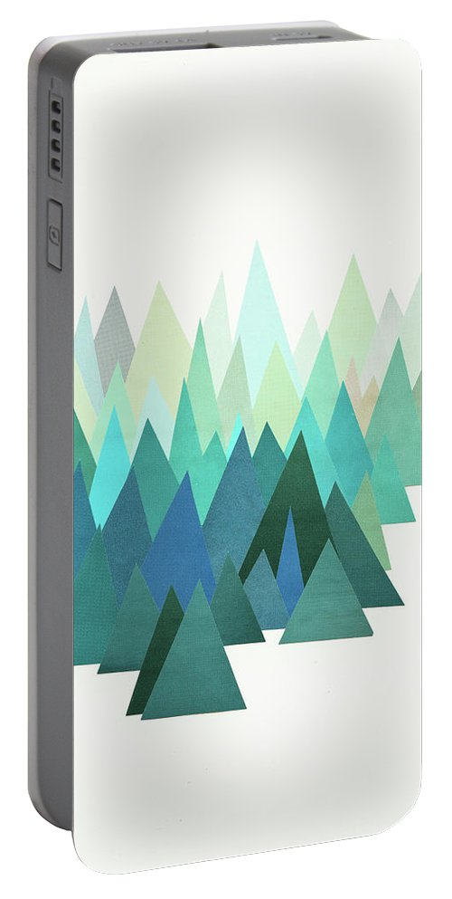 Mountains Portable Battery Charger featuring the mixed media Cold Mountain by Cassia Beck