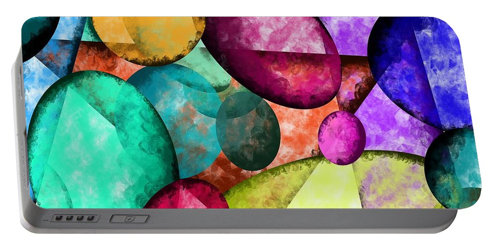 Colorful Stones Portable Battery Charger featuring the painting Colorful Stones by Patricia Piotrak