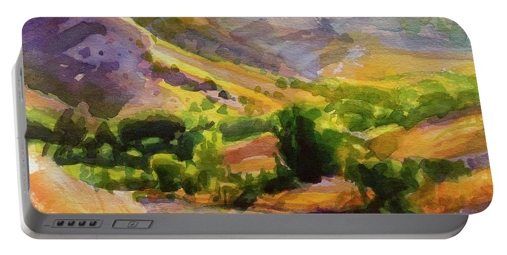 Country Portable Battery Charger featuring the painting Columbia County Backroads by Steve Henderson