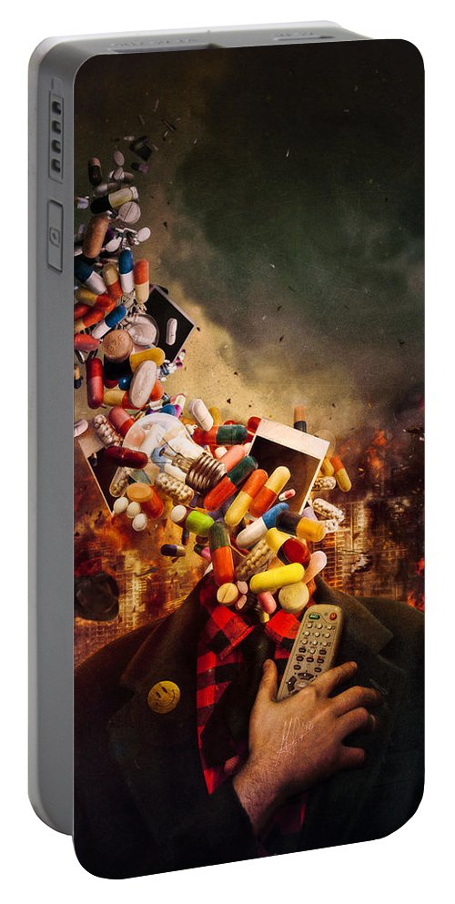 Pink Floyd Portable Battery Charger featuring the digital art Comfortably Numb by Mario Sanchez Nevado