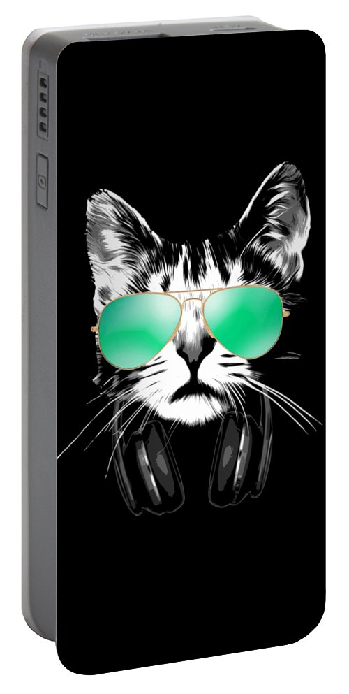 Cat Portable Battery Charger featuring the digital art Cool DJ Cat by Filip Schpindel