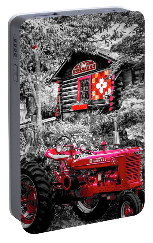 Barns Portable Battery Charger featuring the photograph Country Town Charm In Red, Black And White by Debra and Dave Vanderlaan