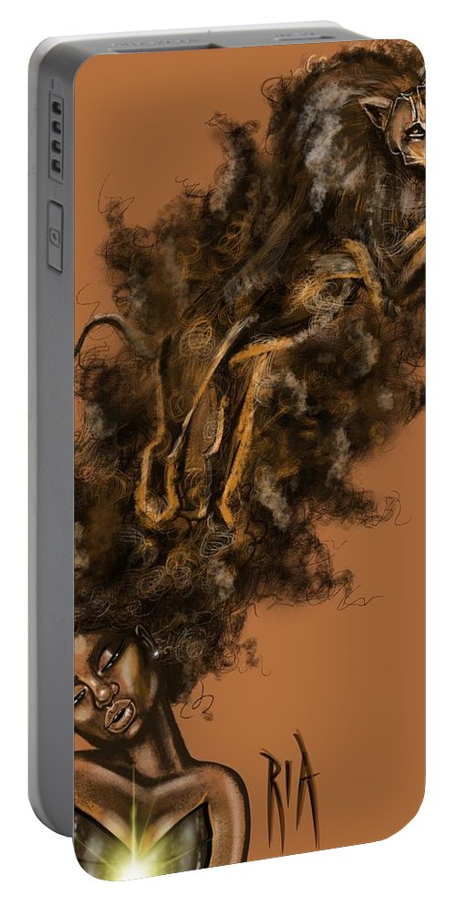 Lion Portable Battery Charger featuring the painting Courageous Me by Artist RiA