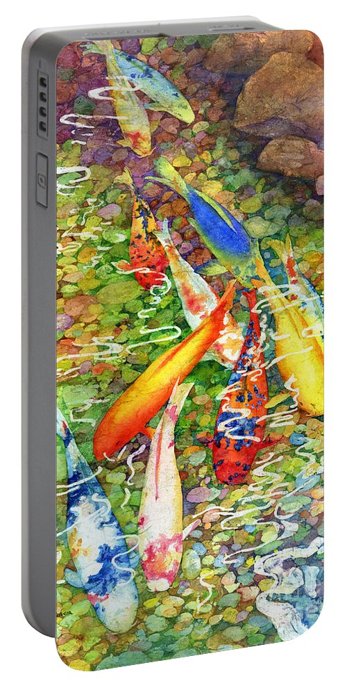 Watercolor Portable Battery Charger featuring the painting Coy Koi by Hailey E Herrera