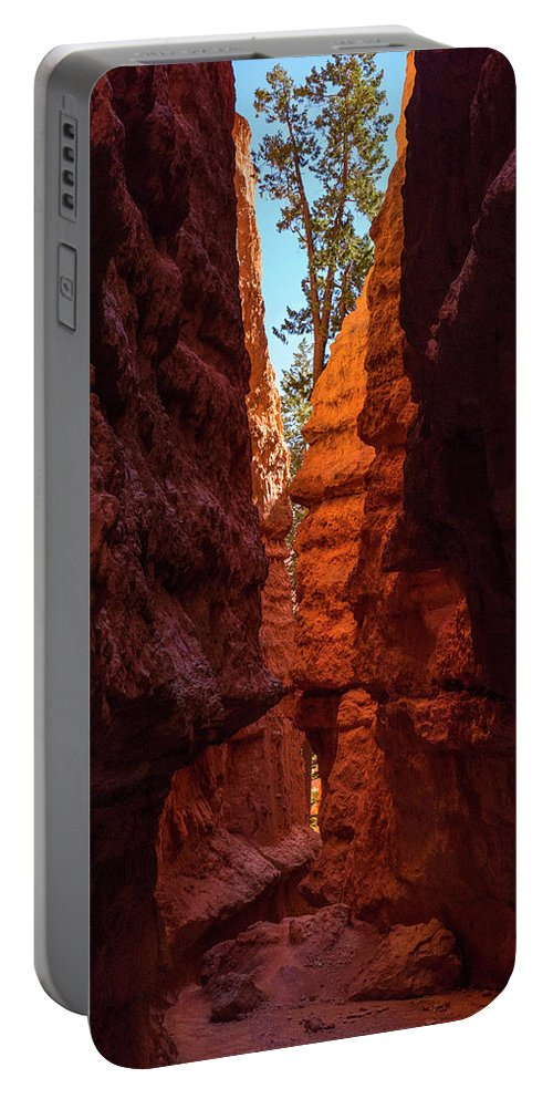 Red Portable Battery Charger featuring the photograph Crimson Crevice by Daniel Kelly