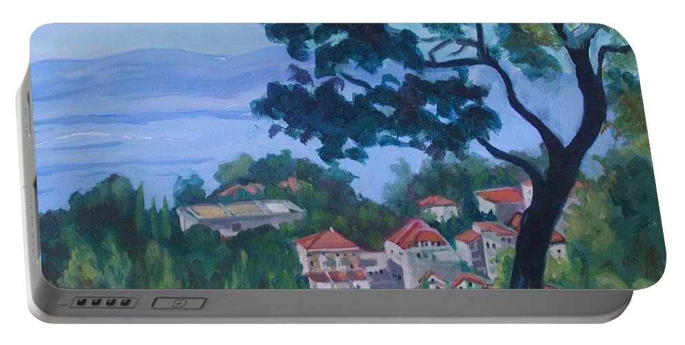 Landscape Portable Battery Charger featuring the painting  Croatia Landscape by Jan Bennicoff