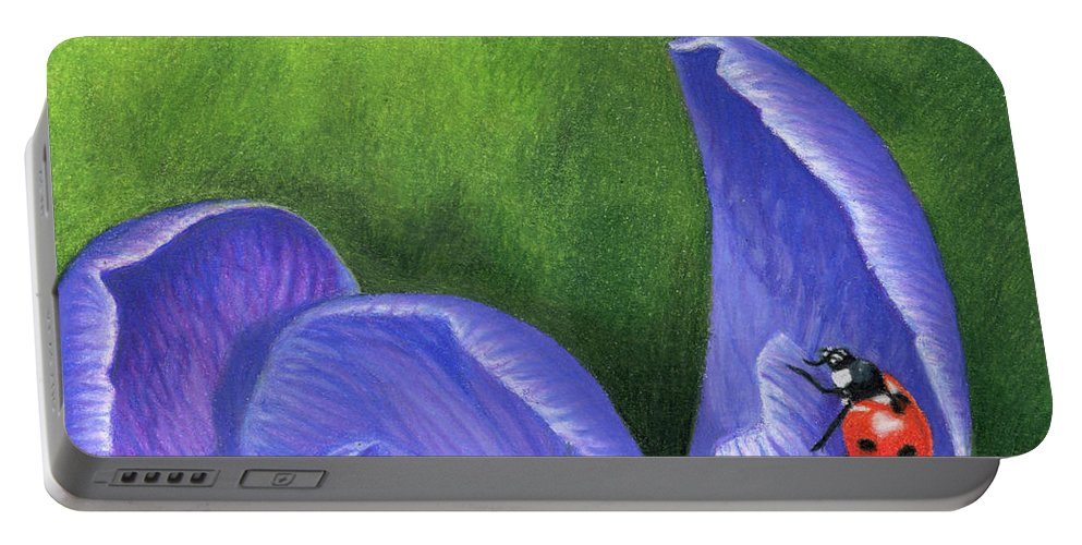 Crocus Portable Battery Charger featuring the painting Crocus And Ladybug Detail by Sarah Batalka
