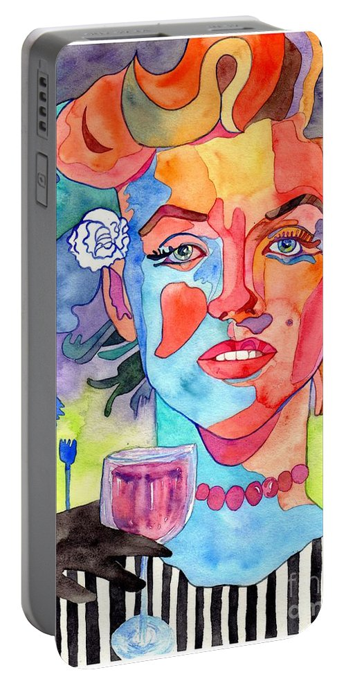 Marilyn Monroe Portable Battery Charger featuring the painting Crying Marilyn by Suzann Sines