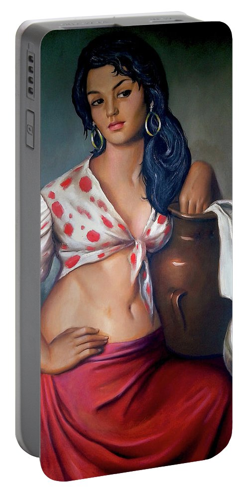 Lady Portable Battery Charger featuring the painting Cuban Girl by Jose Manuel Abraham