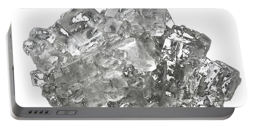 Isolated Portable Battery Charger featuring the photograph Cubic Salt Crystal Aggregate by Frank Heinz
