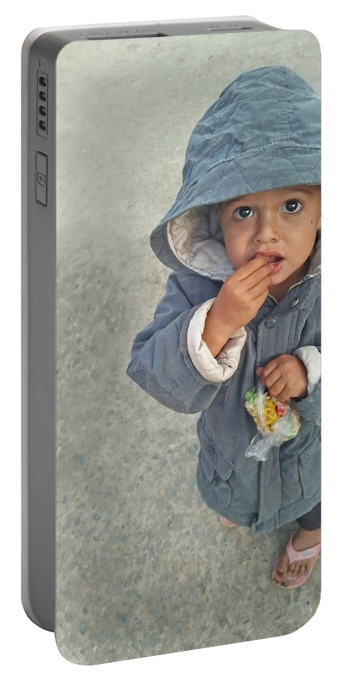 Cute Portable Battery Charger featuring the photograph Cute baby by Imran Khan