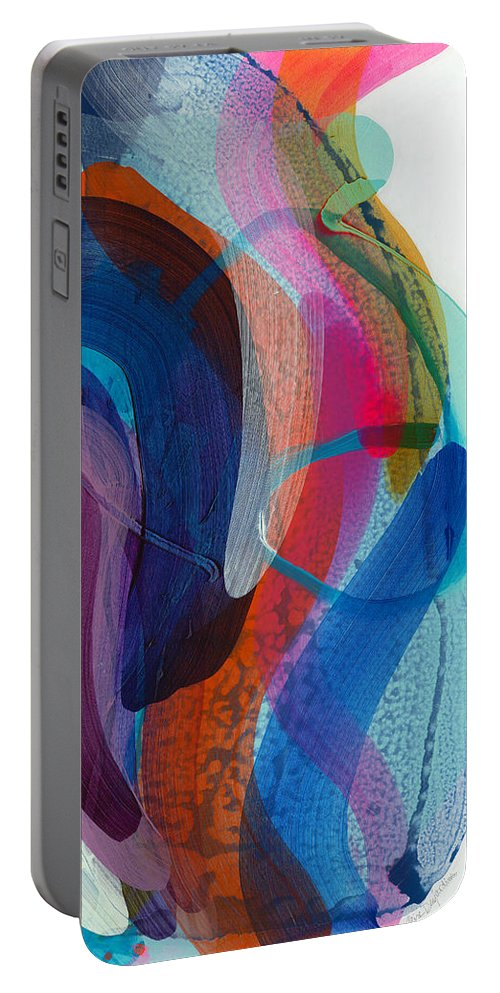 Abstract Portable Battery Charger featuring the painting Dancing In The Kitchen by Claire Desjardins