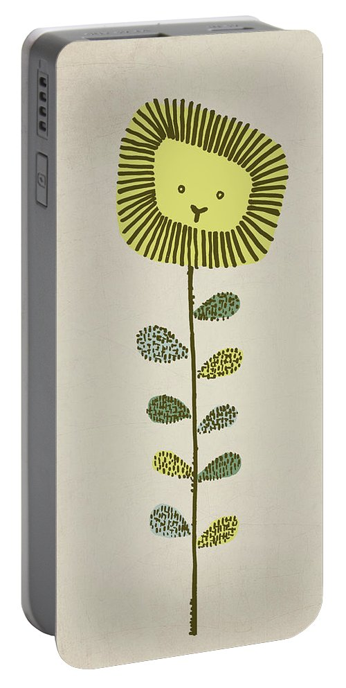 Lion Portable Battery Charger featuring the drawing Dandy by Eric Fan
