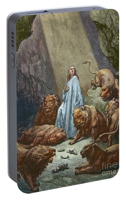 Daniel In The Lions Den Portable Battery Charger featuring the painting Daniel In The Den Of Lions Engraving By Gustave Dore by Gustave Dore