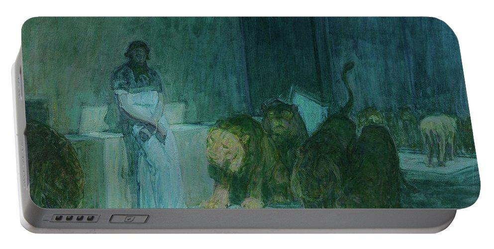 Henry Ossawa Tanner Portable Battery Charger featuring the painting Daniel In The Lions' Den, 1918 by Henry Ossawa Tanner