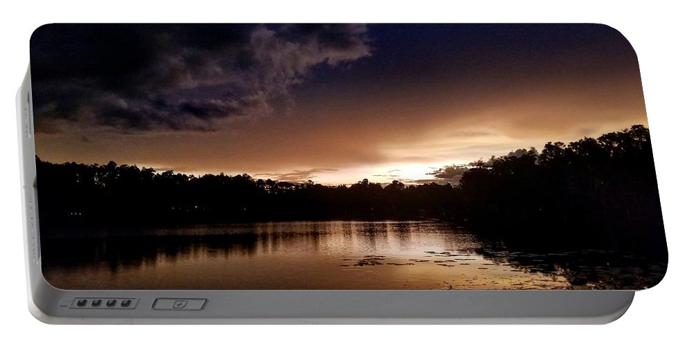 Sunset Portable Battery Charger featuring the photograph Dark Reflections by Shena Sanders