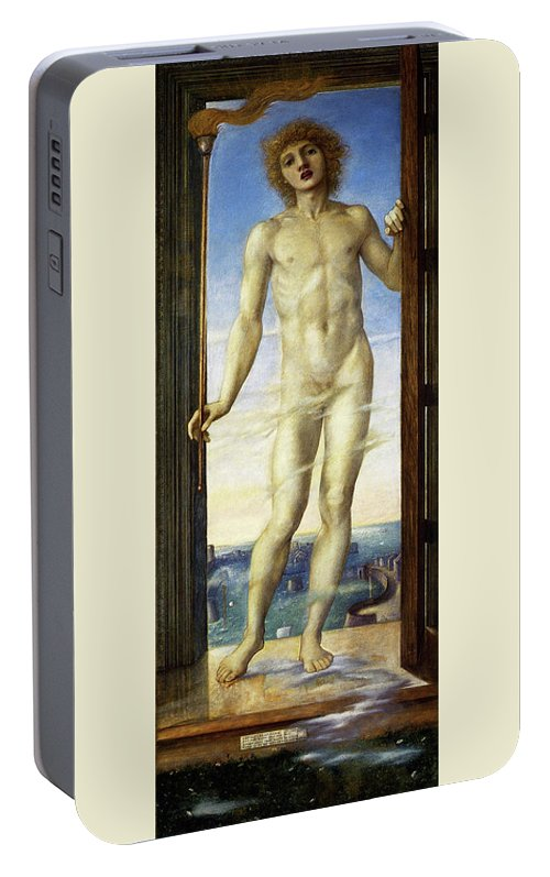 Day Portable Battery Charger featuring the painting Day - Digital Remastered Edition by Edward Burne-Jones