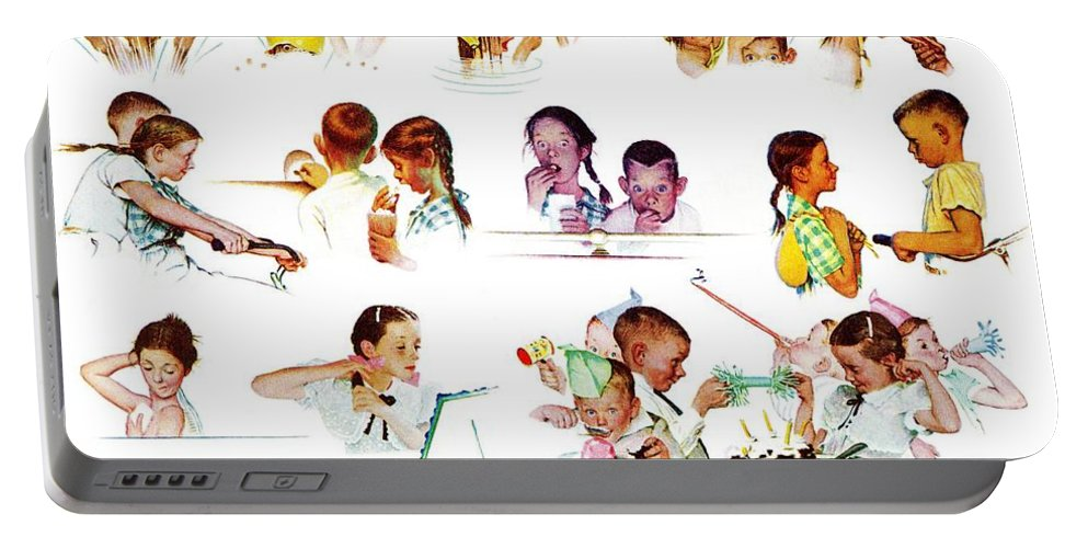Birthdays Portable Battery Charger featuring the drawing Day In The Life Of A Girl by Norman Rockwell