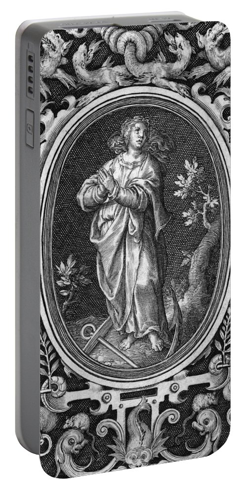 B1019 Portable Battery Charger featuring the painting Hope, from the Caridnal Virtues by Nicolaes De Bruyn