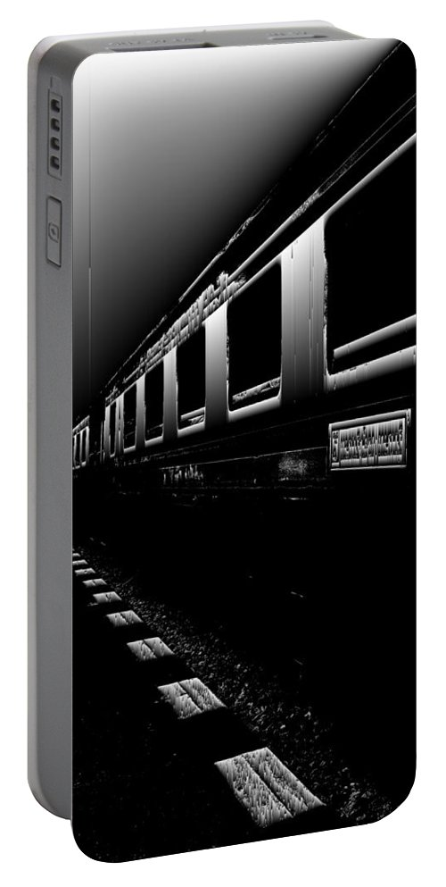 Glasslabs Portable Battery Charger featuring the digital art Death Railway by GLASSLABS by Susanne Layla Petersen