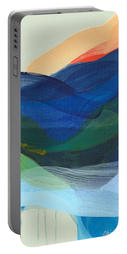 Abstract Portable Battery Charger featuring the painting Deep Sleep Undone by Claire Desjardins
