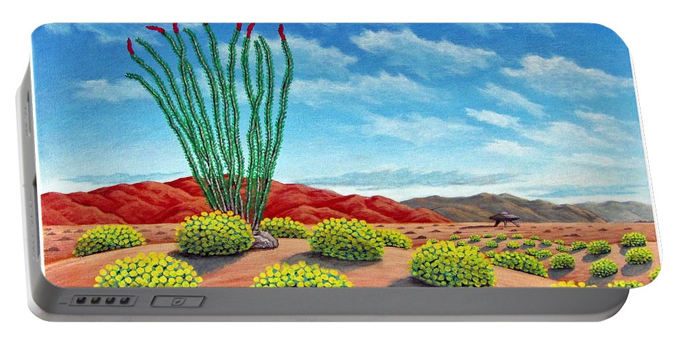 Desert Portable Battery Charger featuring the painting Desert Landing by Snake Jagger