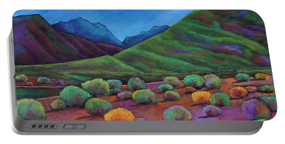 Arizona Portable Battery Charger featuring the painting Desert Valley by Johnathan Harris